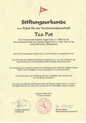 Tea PotStiftungsurkunde